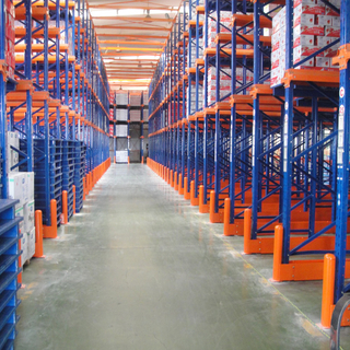 Heavy duty metal warehouse storage racking system for drive in pallet rack