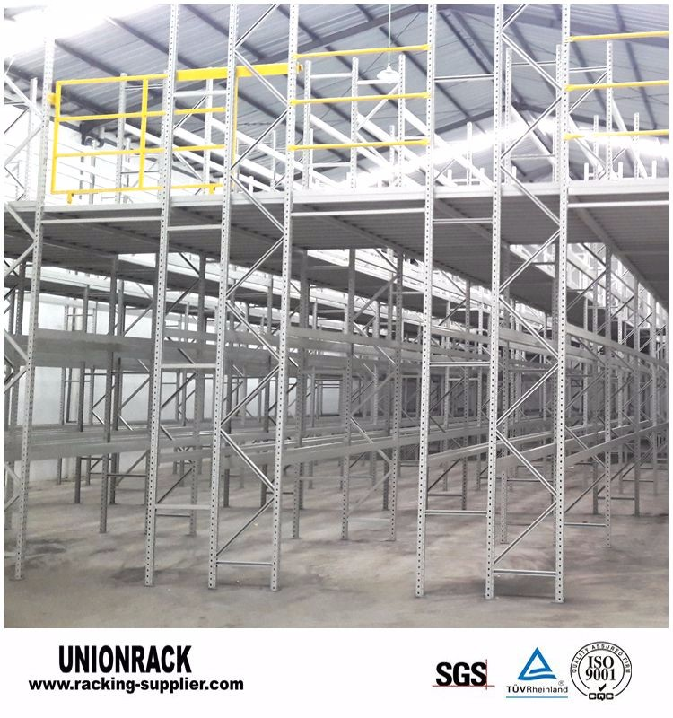 Warehouse metal storage rack multi-level mezzanine racking