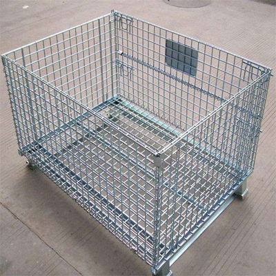 Collapsible Warehouse Storage Cage Heavy Duty Galvanized Wire Mesh Container