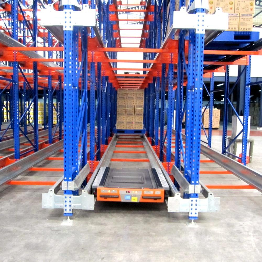 Automatic radio guide shuttle car/satellite pallet racking system