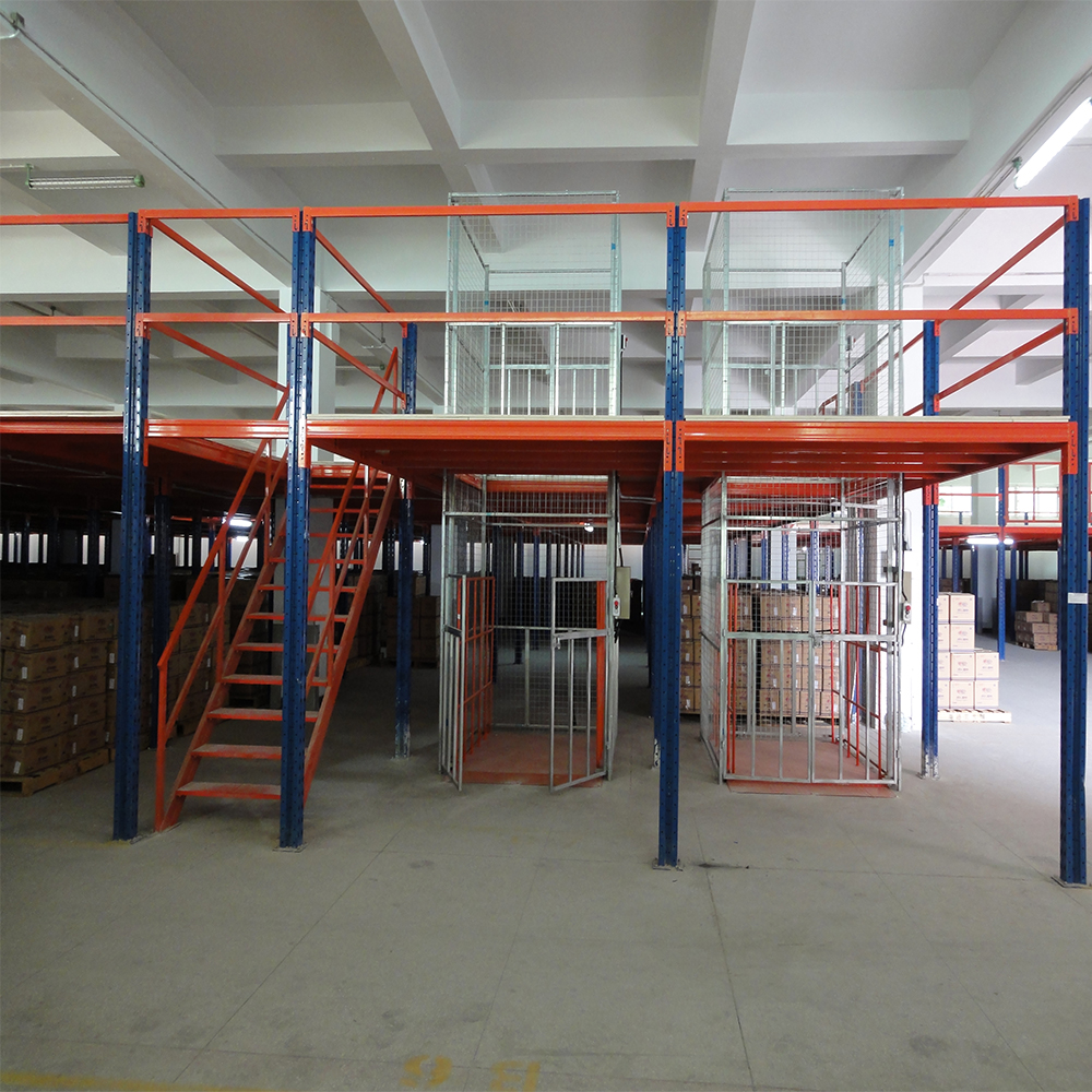High density warehouse steel platform mezzanine racking