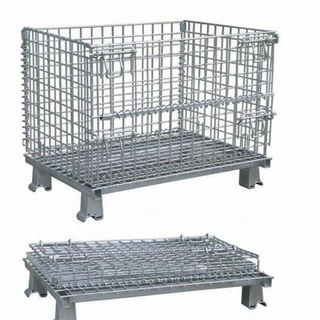 Quality Lockable Industrial Warehouse Logistics Storage Heavy Duty Collapsible Wire Mesh Cage